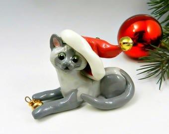 Siamese Burmese Cat Christmas Ornament Figurine Santa Hat Porcelain