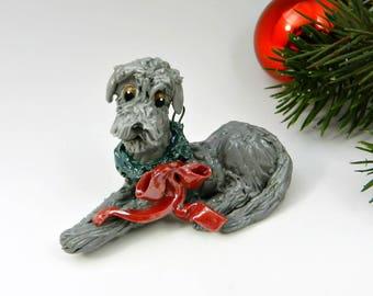 Irish Wolfhound Gray Christmas Ornament Figurine with Wreath Porcelain OOAK
