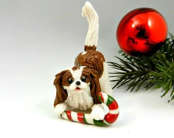 Cavalier King Charles Spaniel Blenheim Christmas Ornament Figurine with Candy Cane Porcelain