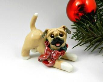 Puggle Christmas Ornament Figurine with Wreath Porcelain Clay