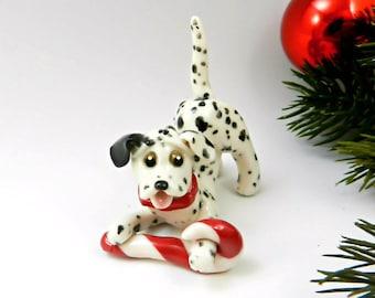 Dalmatian Christmas Ornament Figurine Candy Cane Porcelain
