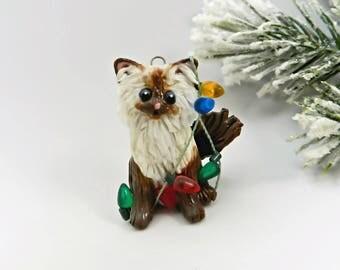Himalayan Persian Cat Brown Christmas Ornament Figurine Lights Porcelain
