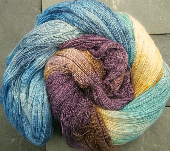 Yarn Lace Baby Alpaca Mulberry Silk Elvincraft's Hand Painted Stone Circle Dawn