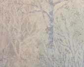 Japanese cotton fabric - 7/8 yard of periwinkle tree print by Yoko Saito END OF BOLT