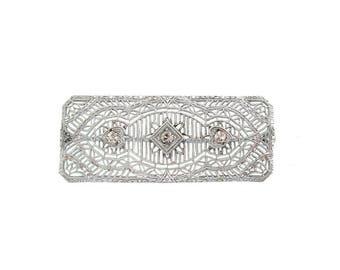 Art Deco Brooch, 1920 Antique Filigree Pin, Fine Vintage Art Deco Jewelry, Antique Wedding Jewelry, Vintage Bridal Jewelry