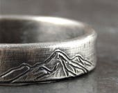 Mountains ring, simple wedding band, choice of width - 4, 5, 6, 7, or 8 mm wide - solid sterling silver, engraved mountains, nature lover.
