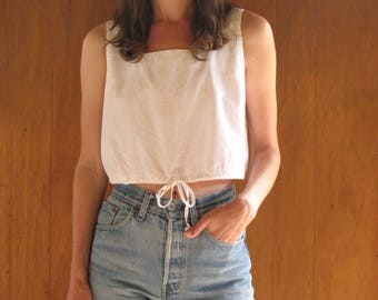 white cotton cropped tank, m