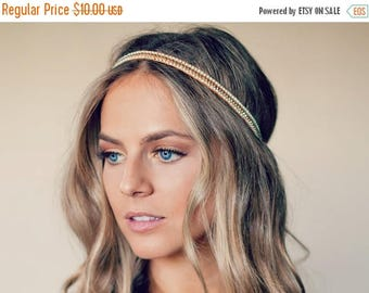 SUMMER SALE Bohemian Bead Hippie Headband - 3 colors available coral / white / mint