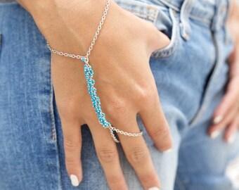 SUMMER SALE LOVMELY Hand Chain. turquoise / bracelet / handchain