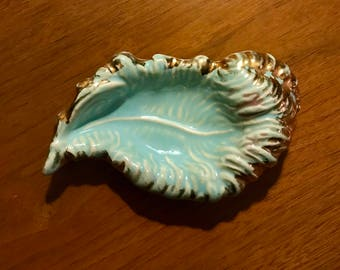 50's 60's ming blue feather dish ashtray Vintage mid century catch all 1950's 1960's gold decor