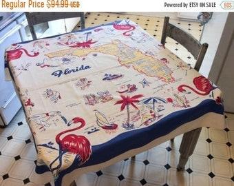 ON SALE Vintage 1940s Souvenir Tablecloth Fun & Fabulous Florida