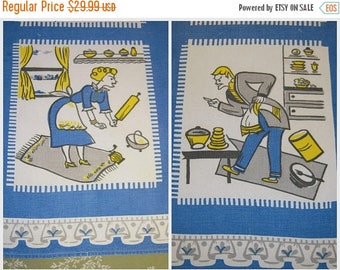 ON SALE Vintage Towel Battling Bickersons Husband & Wife Are At It Again