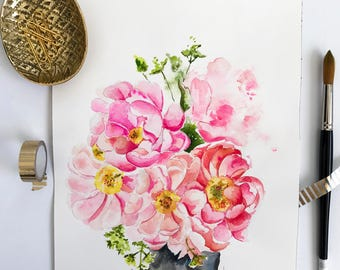 Floral Bouquet Original Watercolor Painting-Peony Original Art-Pink Peony-Botanical-Flower Painting- Wall Art
