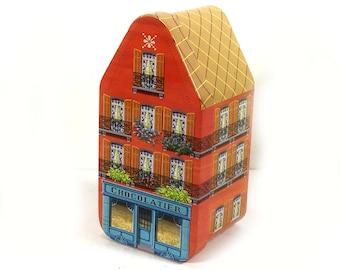 Vintage European Chocolatier Building Tin, Orange and Blue