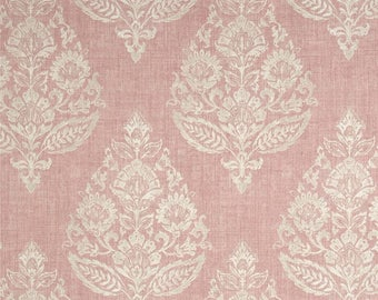 "Dusty Rose Drapes, Pink Home Decor, Light Pink Floral Damask Curtains, Trendy Window Curtains, Rod-Pocket, One Pair 50""W"