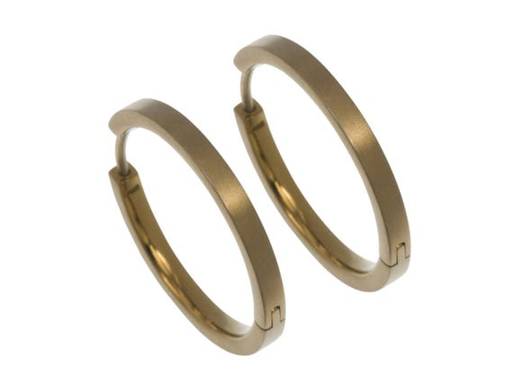24mm tan beige pure titanium hoop earrings, 100% Hypoallergenic, Sensitive ear