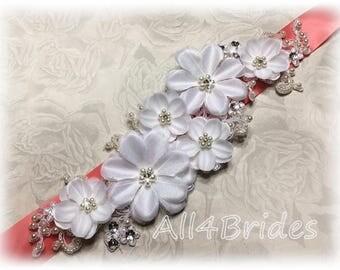 Bridal sash, crystals, rhinestones, flowers, lace.  Wedding bridal sash belt custom colors.