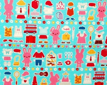 FINAL CLEARANCE SALE Bunny Wardrobe Japanese Fabric in turquoise -- 0.5 yard