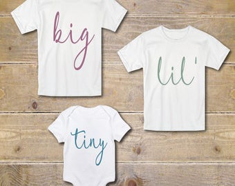 Sibling Shirts, 3 Kids, Big Brother Shirts, Big Sister Shirts, New Baby, Biggest, Middle, Littlest, Baby Shower Gift, Matching Shirts
