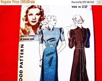 on SALE 25% Off 1930s Dress Pattern Hollywood Pattern Glenda Farrell Misses size 14, Back Flare Skirt Panel Raised Neckline Dress