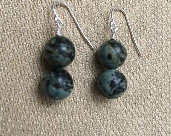 Jasper Earrings, African Turquoise Earrings, Semiprecious Gemstones Sterling Silver Blue Green Earrings Beaded Earrings Dangle