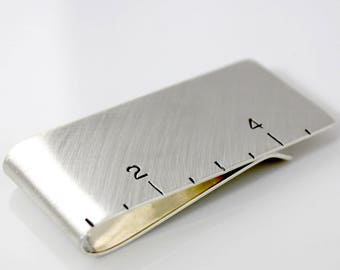 Ruler Hand Stamped Sterling Silver Money Clip - Geekery