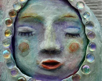 Awaken Sleeping Angel, Three dimensional art, OOAK, painted driftwood, beach art, papoose, sculpture