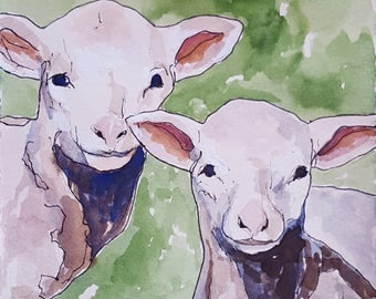 Two Lambs in Green original watercolor painting 7.5 x 5.5 inches lamb painting lamb art lamb watercolor farmstyle farmhouse kids room art