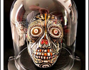 Skull Handpainted Multi Media Sculpture By Ras Steyn