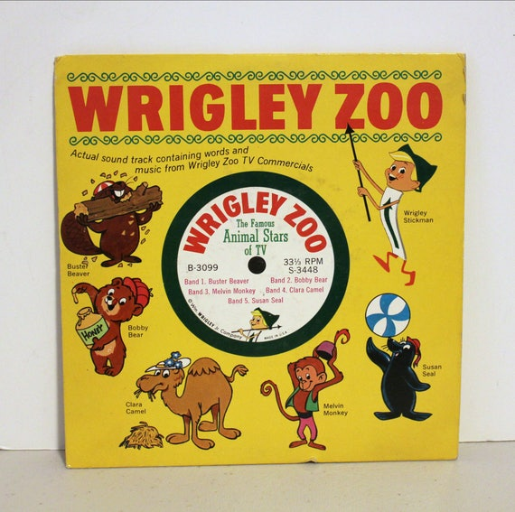 """Vintage Wrigley Zoo Chewing Gum TV Commercial Promo Record 7"""" 33rpm"""