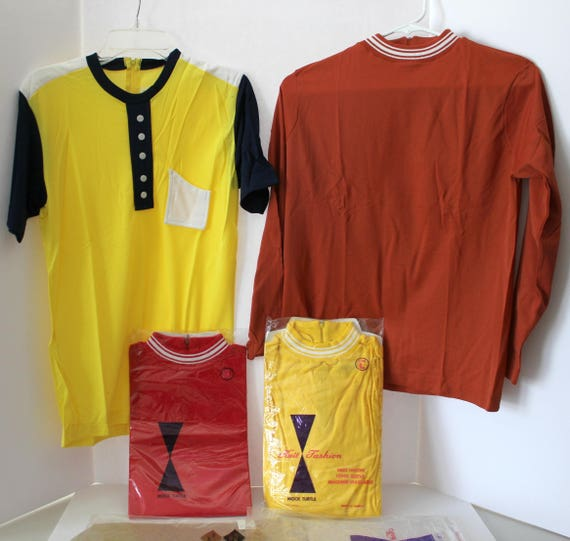 1970s Vintage Lot of 4 Womens Shirts Tops, Mock Turtle Necks, all NOS, New in Package, Nylon Long Sleeve, Short Sleeve, Yellow, Red, Rust