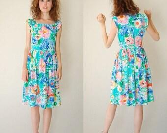 SALE 25% off sundays Floral Summer Dress Vintage Summer Watercolor Floral Boho Dolly Day Dress (s m)
