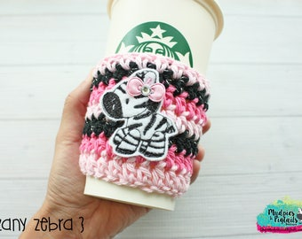 Animal Crochet Coffee Sleeve { Zany Zebra } black, pink, cup cozy, knit mug sweater, starbucks gift, frappuccino holder