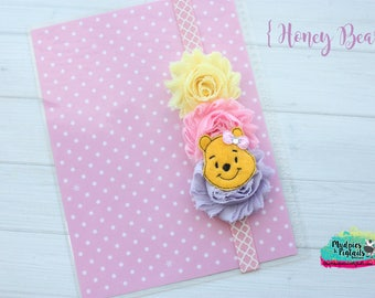 Planner band { Honey Bear } winne the pooh bear, pastel, pink, yellow, spring band planner girl accessories bible band, baby headband