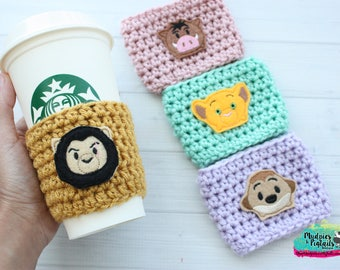 Safari Animal Cup Cozy { The Lion King } Simba, Scar, Timon, Pumba crochet coffee sleeve, knit mug sweater, starbucks gift