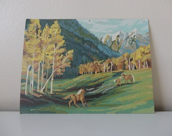 VINTAGE paint by number HORSE PAINTING - mountain valley - fall scenery