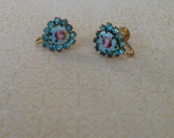 Vintage Rhinestone and Guilloche Enamel hand painted Cabbage Rose Screw Back Earrings Shabby Chic