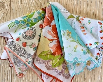 Set of 5 Vintage Floral Hankies in Aqua, Yellow and Coral, Midcentury Hankies, 1950s Hankies for Springtime and Easter