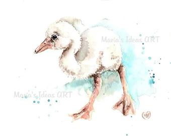 Baby bird art, Flamingo art, baby flamingo, baby wall art, Pink Flamingo wall art,  Bird print, Bird wall art, nursery wall art