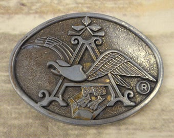 Anheuser Busch Belt Buckle Distressed Eagle Vintage Country Western Rockabilly