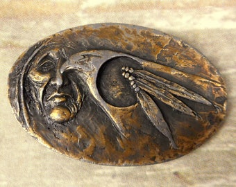 Native American Belt Buckle Crow Feather Eagle Bird Country Western Boho Vintage