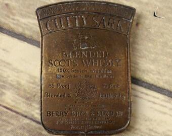 Cutty Sark Belt Buckle Scotch Whiskey Vintage Scots Whisky Alcohol Western VTG