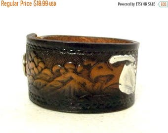 Bald Eagle Reclaimed leather cuff - upcycled - western hippie bracelet - fashion