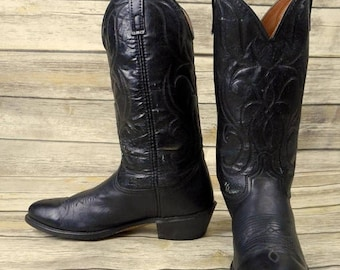 Mens 10.5 D Cowboy Boots Black Acme Vintage Country Western Rockabilly Distressed