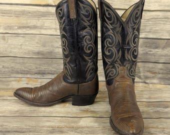Dan Post Cowboy Boots Black Grey Lizard Leather Mens Size 10 Distressed Vintage