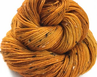 "Donegal tweed yarn, hand dyed, fingering weight, 438 yds, 2 ply, golden yellow, ""Orlagh"",  BFL and nylon blend"