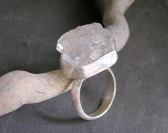 Big Raw Herkimer Diamond Sterling Silver Ring