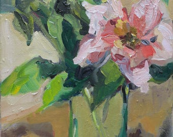 """red-orange roses, impressionistic painting, impressionism, hand painted, still life, 8""""x 10"""", small painting, green, gold, contemporary art"""