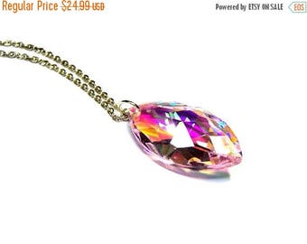 On Sale Pink Crystal Marquise Pendant Necklace Top Selling Jewelry Pink Glass Prism Pendant Sterling Silver Necklace Jewelry for Women