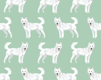 Jindo Dog Fabric - Jindo Dogs By Petfriendly - White Dogs on Mint Green Cotton Fabric by the Yard with Spoonflowe